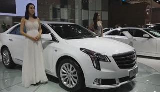2017南宁车展凯迪拉克展台前靓丽高挑美女模特表演走秀